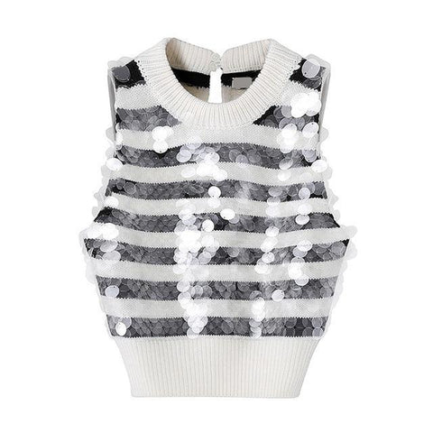 Sequin Striped Knitted Sweater Vest