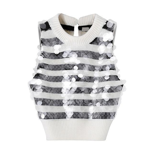 black and white sequined striped sweater vest