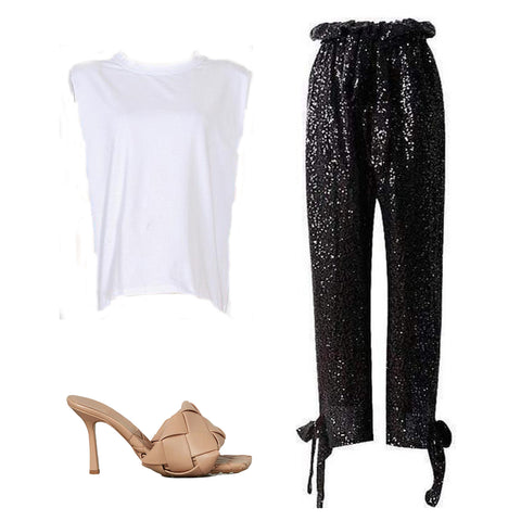 muscle tee, sequin pant, woven leather mules