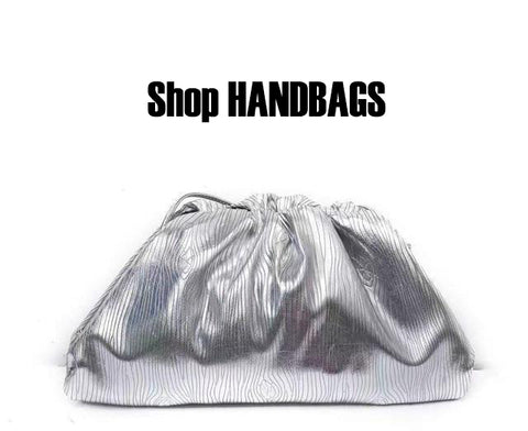 Silver hand bag with the words shop handbags.