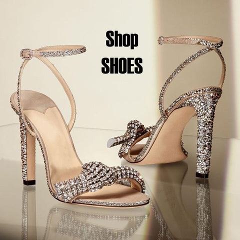 Rhinestone wedding heels with the words shop shoes