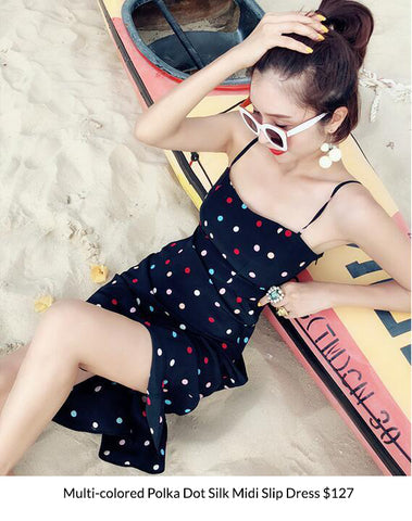 Multi-colored Polka Dot Silk Midi Slip Dress
