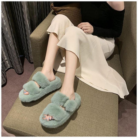 Soft Faux Fur Two Strap Slide Slippers