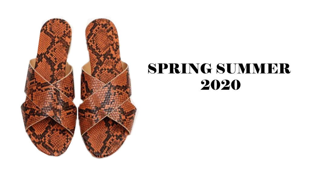 womens brown and black snake effect slide sandals