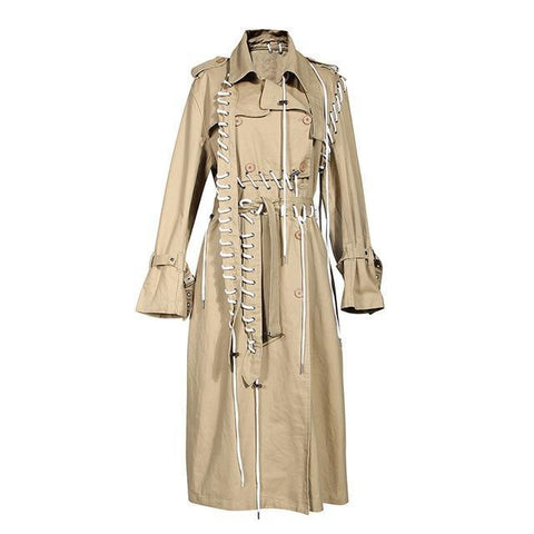 Stitched Lacing Windbreaker Trench Coat