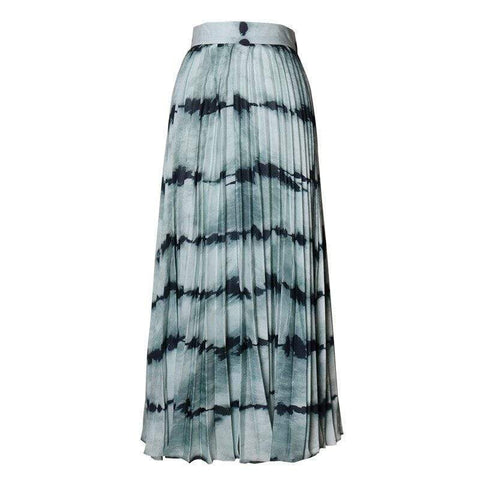 Tie-Dye Striped Pleated Midi Skirt