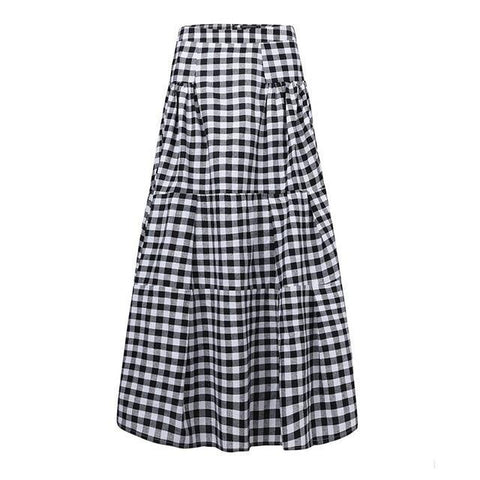 Tiered Gingham Plaid Maxi Skirt