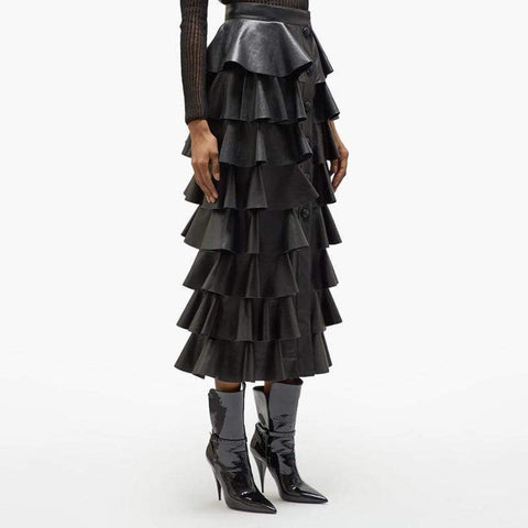 Tiered Ruffle Faux Leather Maxi Skirt
