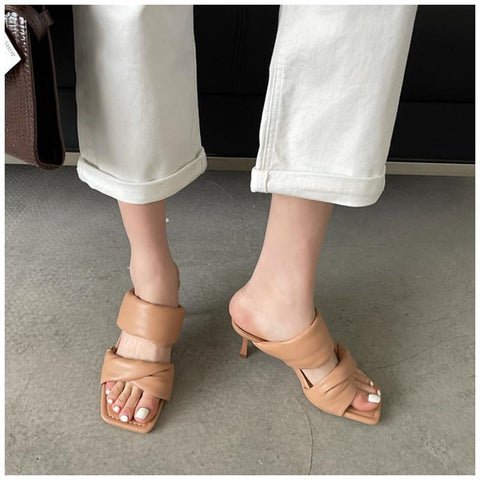 Twisted Puffy Strap High Heel Sandals