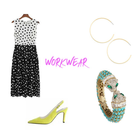 sleeveless black and white polka dot dress neon yellow slingback heels gold hoops turquoise bracelet