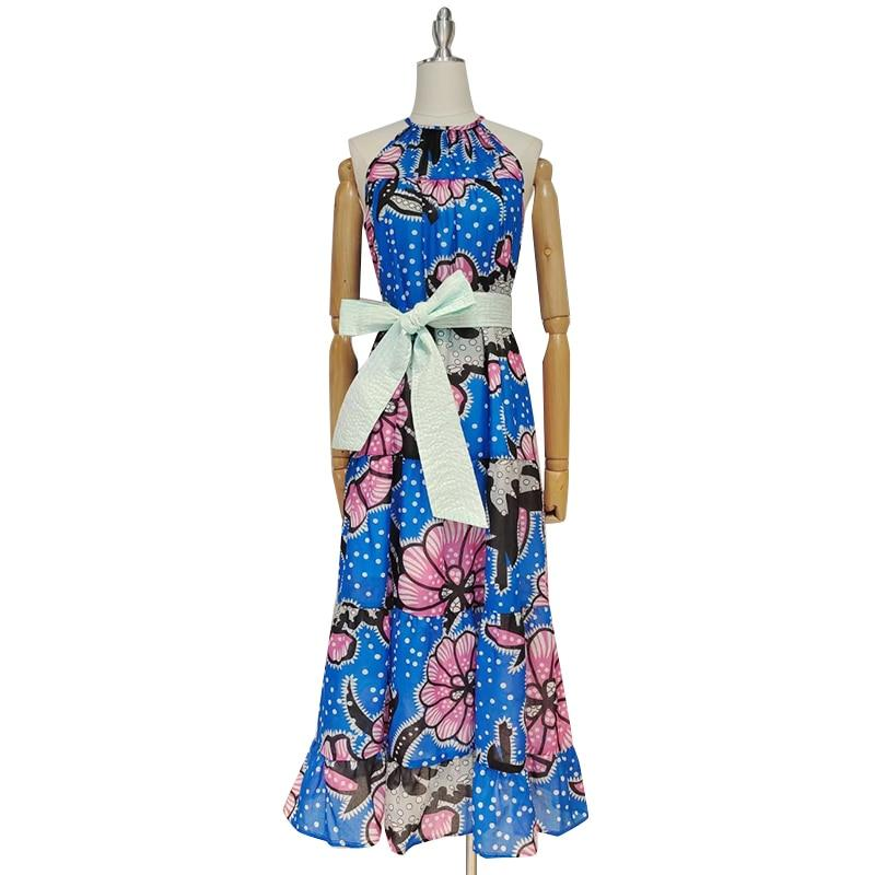 African Floral Print Sleeveless Midi Dress-Hoyden