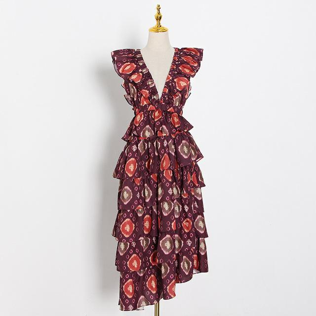 Ankara Print Asymmetric Deep V-Neck Ruffle Dress-Hoyden
