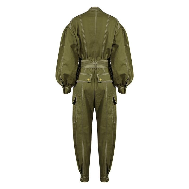 Army Green Cargo Jumpsuit-Hoyden