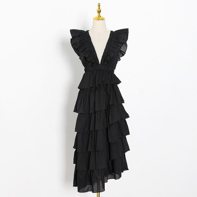 Black Asymmetric Deep V-Neck Ruffle Dress-Hoyden