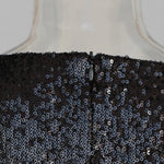 Black Asymmetric Sequin Mini Dress-Hoyden