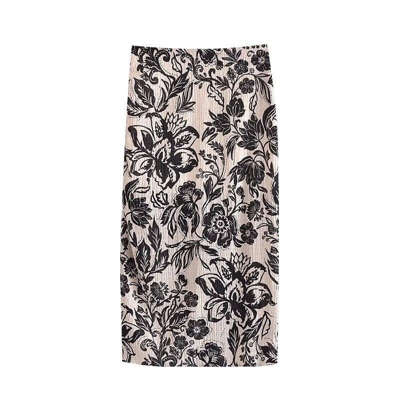 Black + White Floral Pattern Midi Skirt-Hoyden