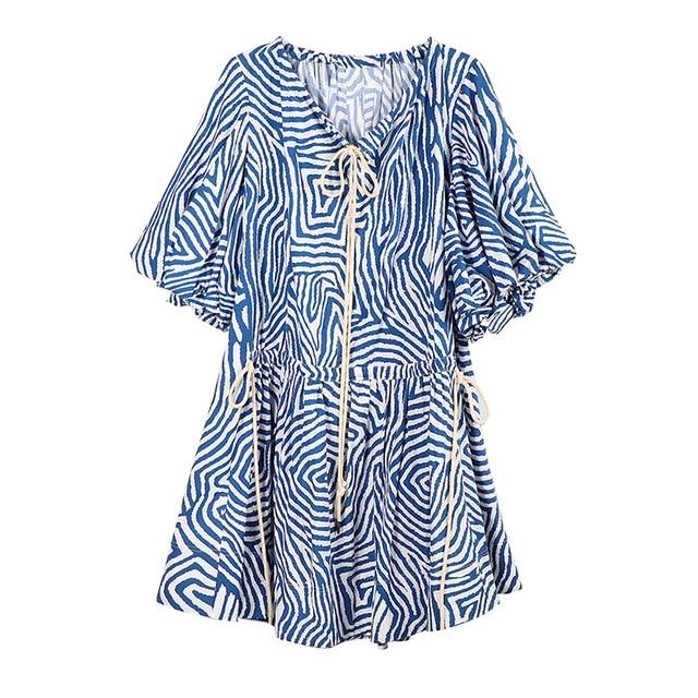 Blue + White Geometric Patterned V-Neck Mini Dress-Hoyden
