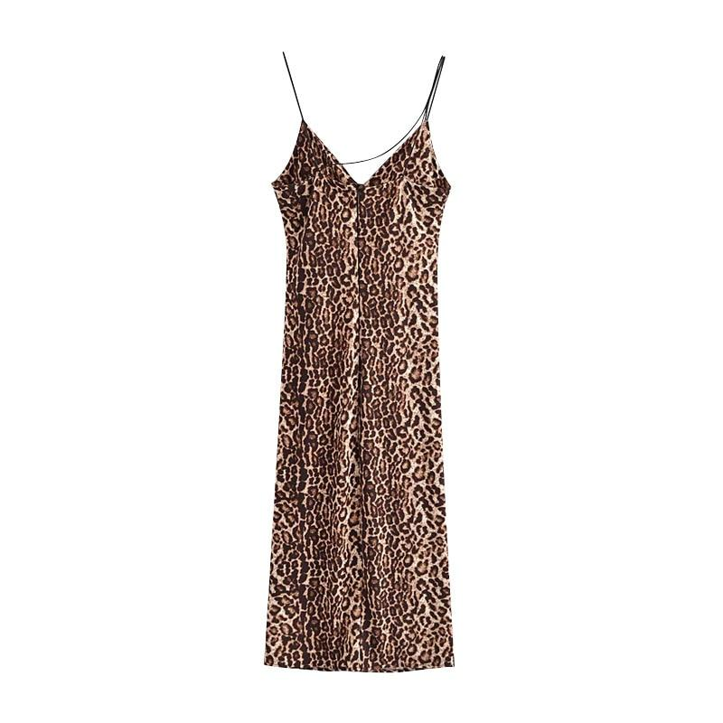Brown Leopard Print Midi Cami Slip Dress-Hoyden