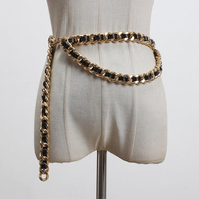 Chain + Leather Draped Belt-Hoyden