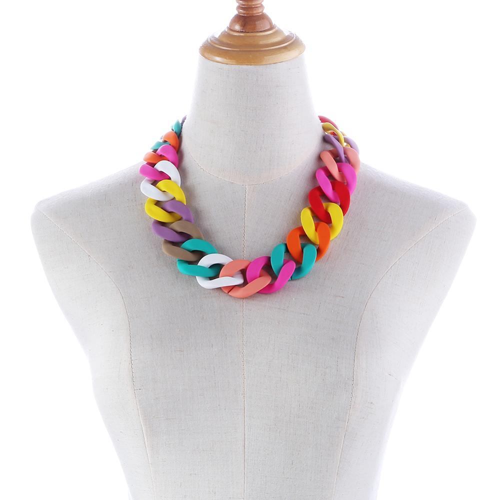 Colorful Acrylic Chunky Chain Statement Necklace-Hoyden