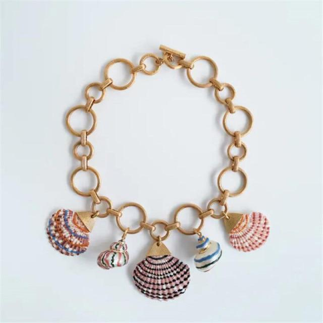 Colorful Big Shell Choker Necklace-Hoyden