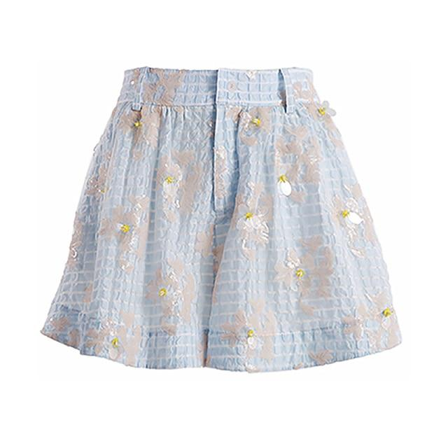 Embellished Blue Plaid Shorts-Hoyden