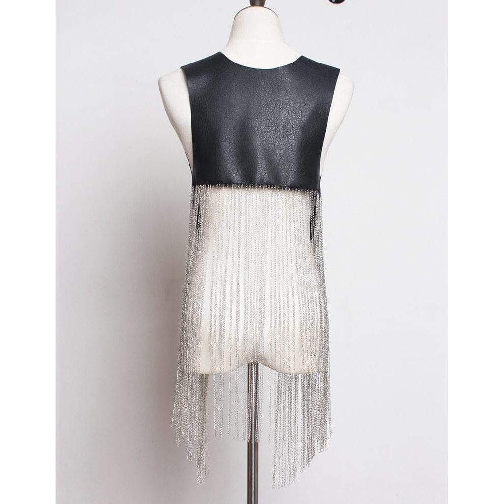 Faux Leather Vest with Long Chain Tassel Fringe-Hoyden