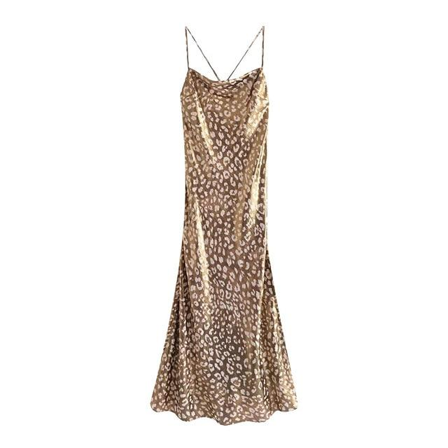 Gold Metallic Leopard Print Midi Cami Slip Dress-Hoyden