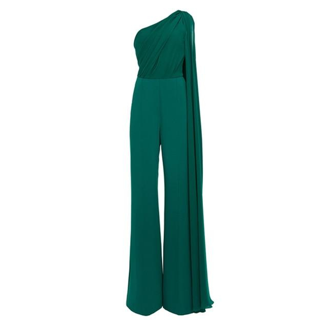 Green One Shoulder Draped Jumpsuit-Hoyden