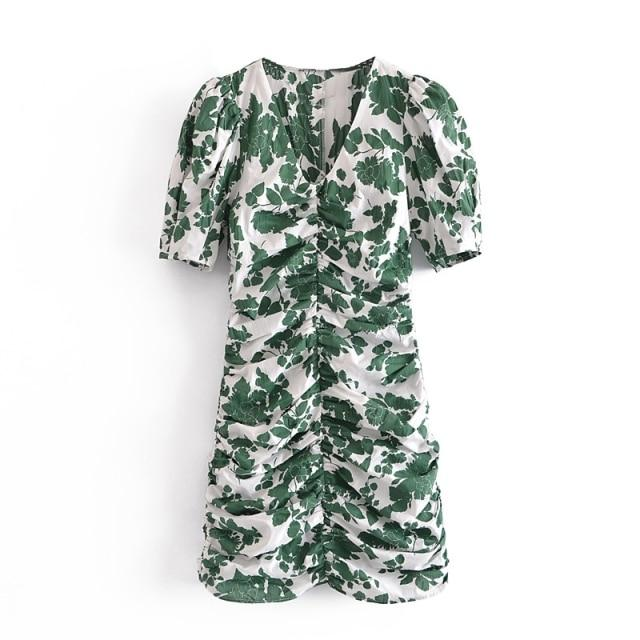 Green + White Floral Ruched Front V-Neck Dress-Hoyden