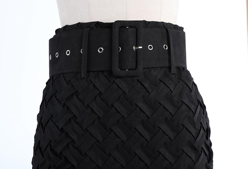 Intrecciato Weave Suede High Waist Skirt | Black-Hoyden