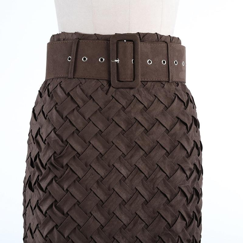 Intrecciato Weave Suede High Waist Skirt | Brown-Hoyden