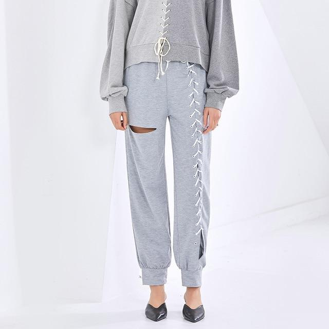 Lace-up Front Sweatpants-Hoyden