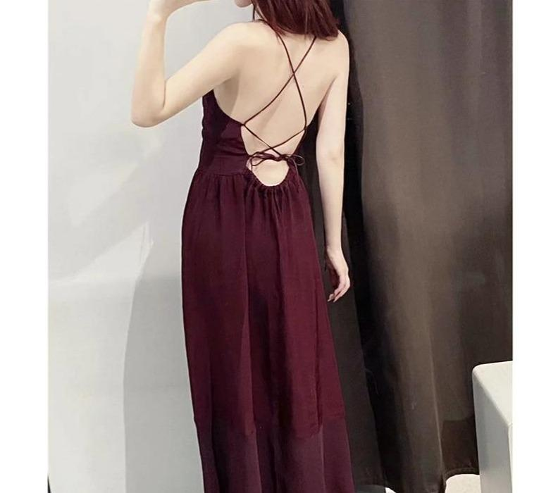 Maroon Red Strappy V-Neck Open Back Midi Dress-Hoyden
