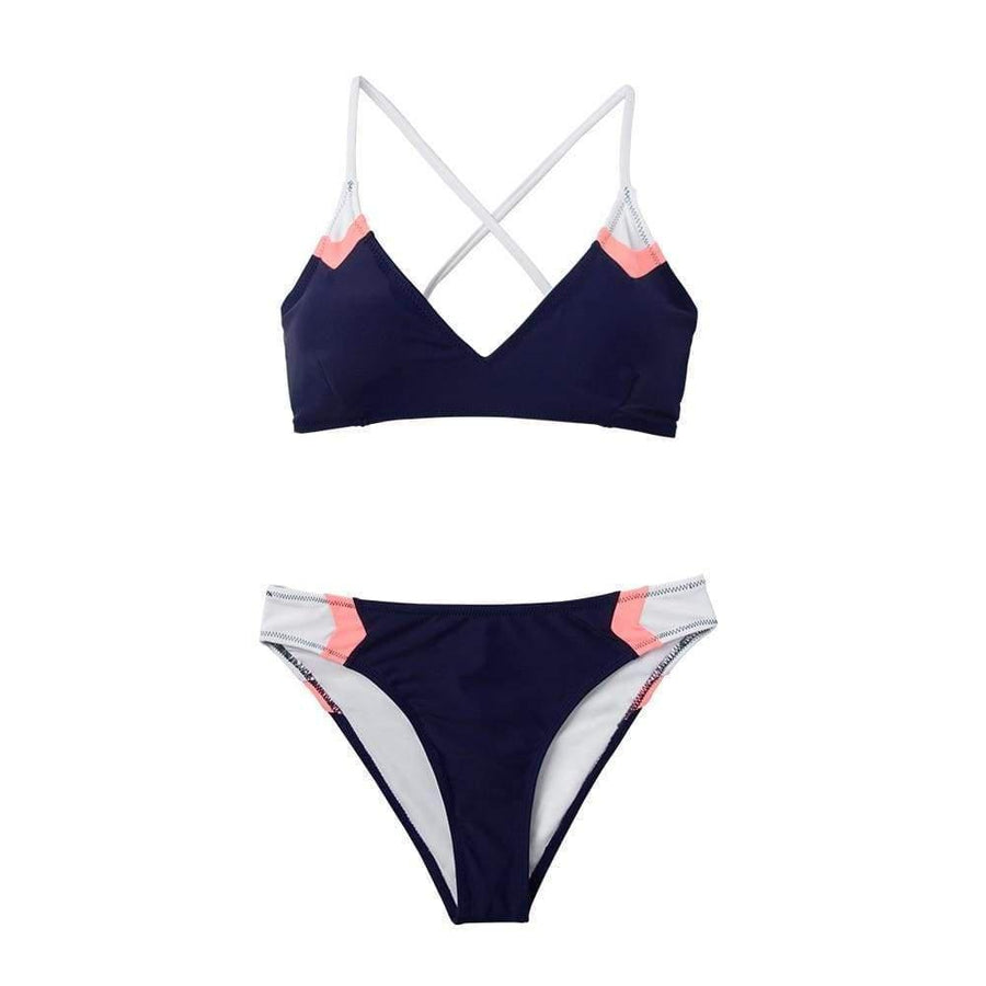 Navy Blue + Pink Arrow Colorblock Bikini Set-Hoyden