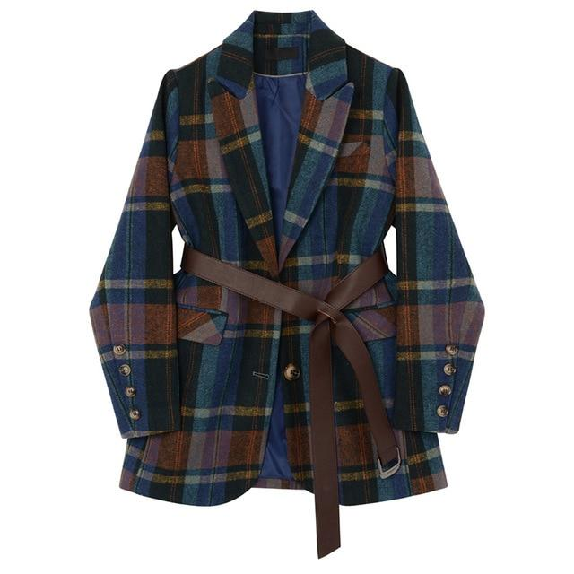 Navy Plaid Blazer-Hoyden