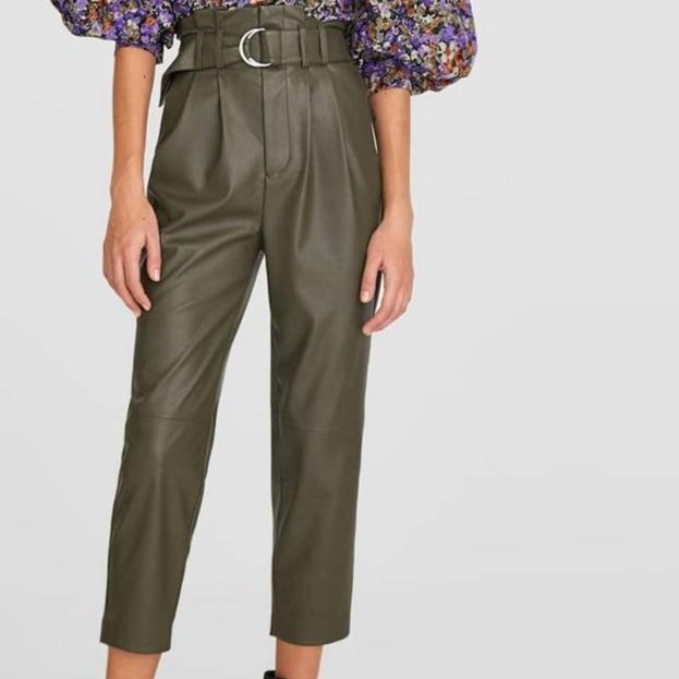Olive Green Belted + Pleated Faux Leather Cropped Pants-Hoyden