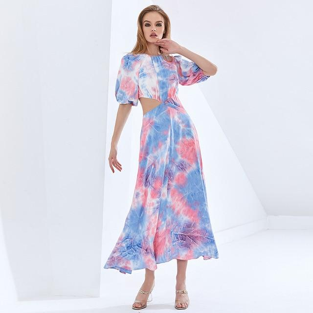 Pink, Blue, White Tie-Dye Puff Sleeve Hollow Out Dress-Hoyden