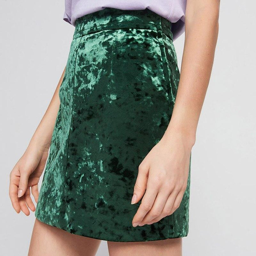 QUICK SHIP Green Crinkle Velour A-Line Skirt-Hoyden