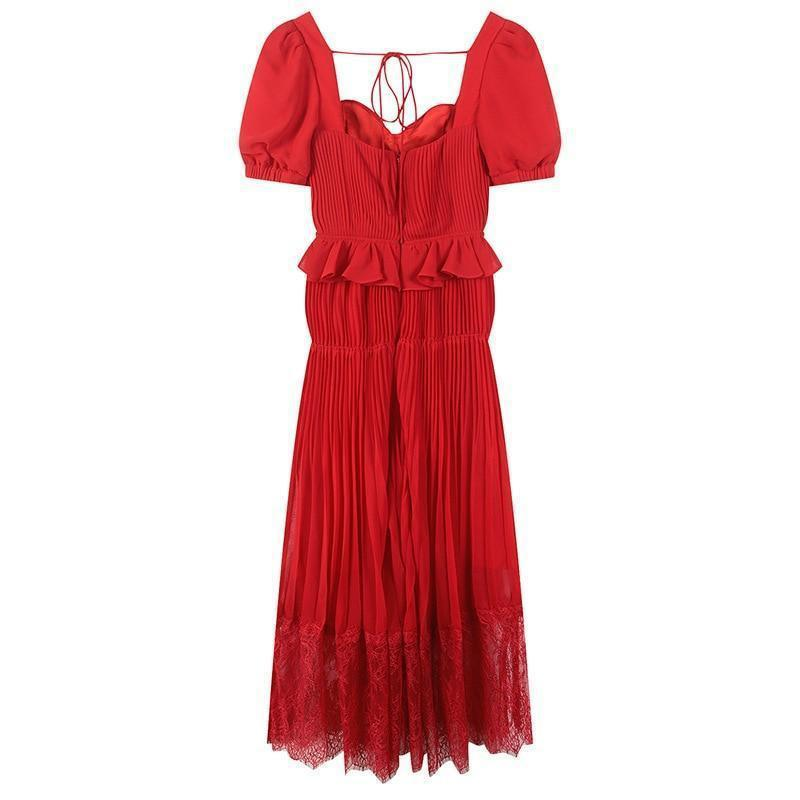 Red Bustier Top Ruffle Pleat + Lace A-Line Dress-Hoyden