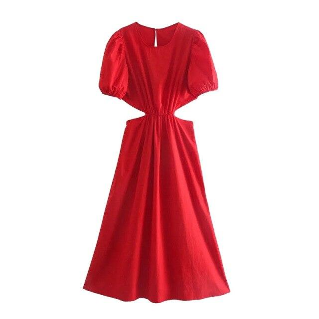 Red Cutout Midi Dress-Hoyden