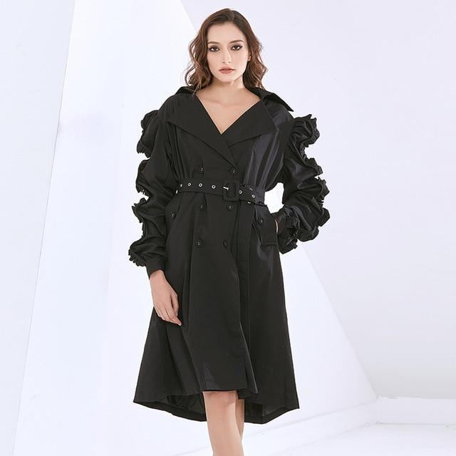 Ruched Sleeve Windbreaker Trench Coat-Hoyden