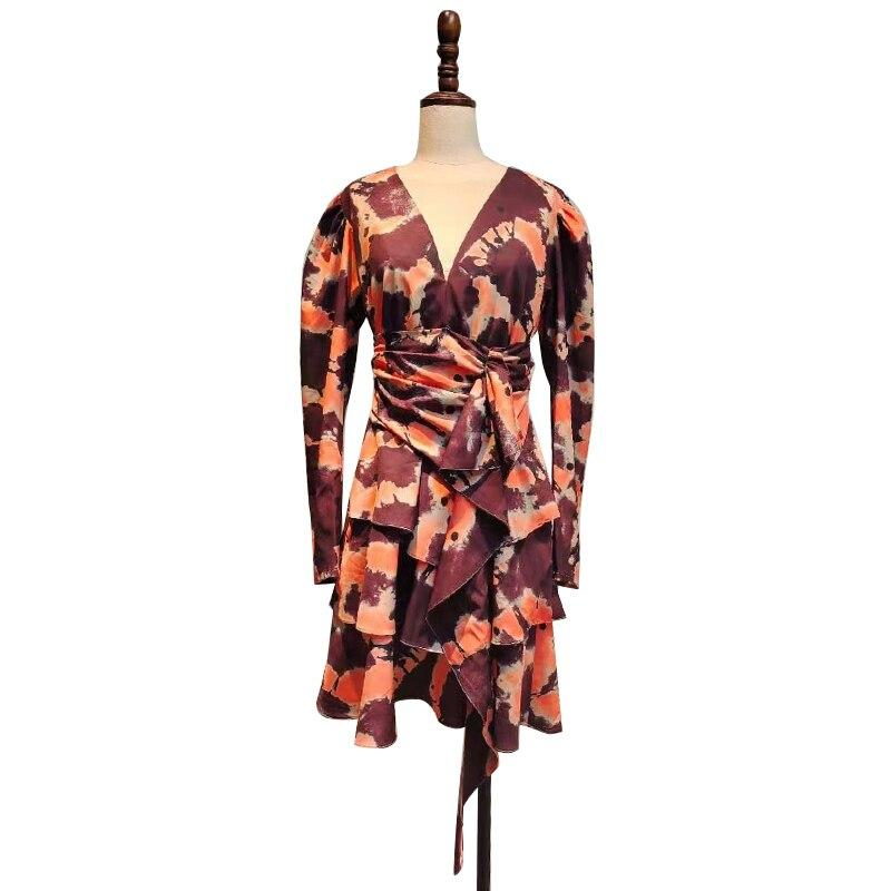 Shibori Tie Dyed Puff Sleeve Dress-Hoyden