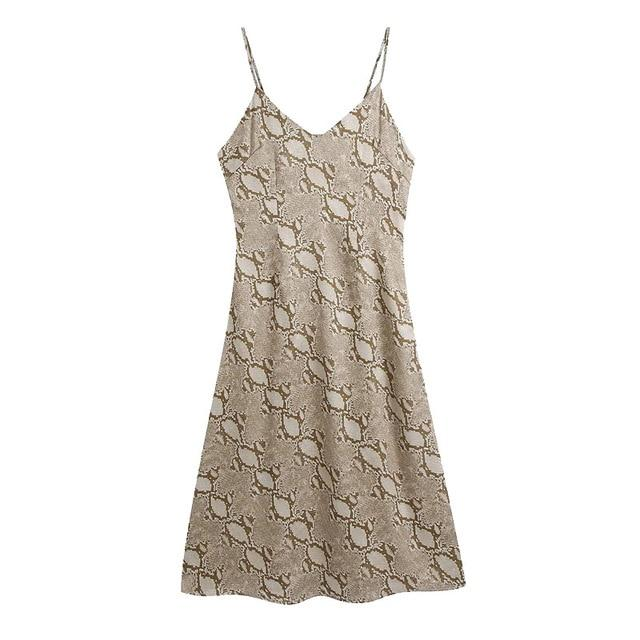Snake Print Midi Slip Dress-Hoyden