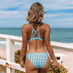 Teal Green Triangle Low Waist Bikini Set-Hoyden