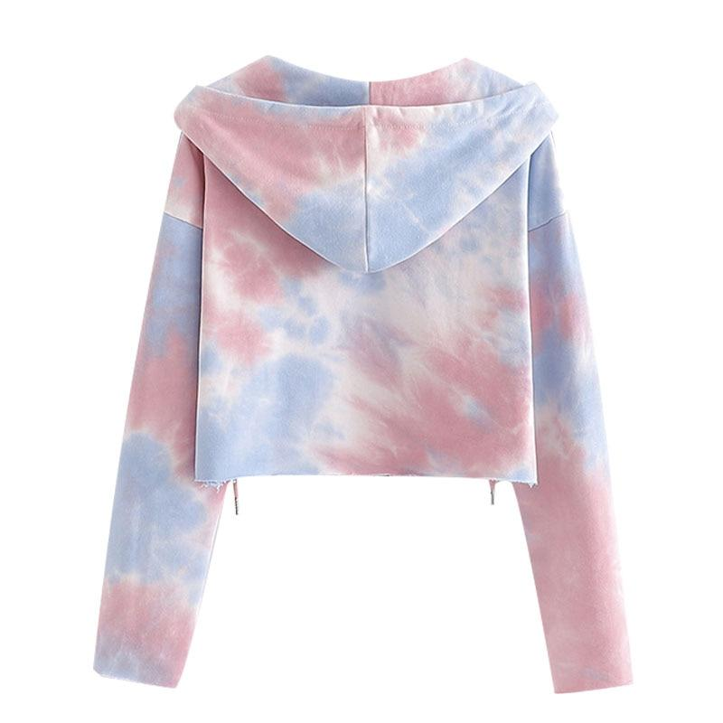 Tie-dye Print Zip-up Cropped Sweatshirt-Hoyden
