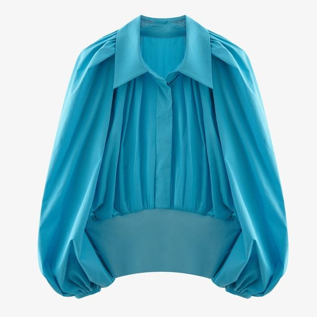 Turquoise Blue Pleated Blouse-Hoyden