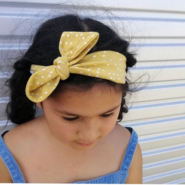 Yellow & White Polka Headband