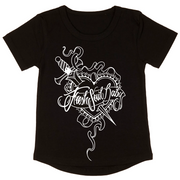 Black short sleeve baby t shirt with a white outline design of a sacred heart white a dagger through it.  On top of the heart is a banner with the words Fresh Soul Baby on it.  The design is done by tattoo artist Toni Moore.