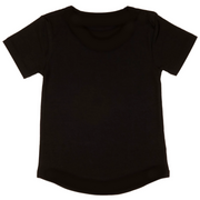 Back of a short sleeve black baby t shirt featuring a drop back.